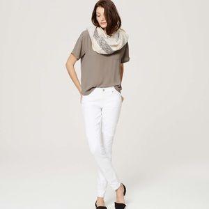 Ann Taylor Loft White Ankle Skinny Jeans
